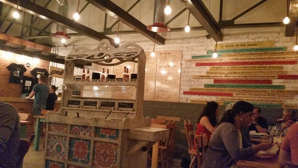 Fun and funky interior of FOUR15 Mexican restaurant.
