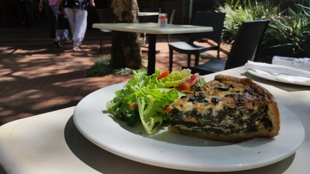Spinach and feta quiche at at Arts Cafe.