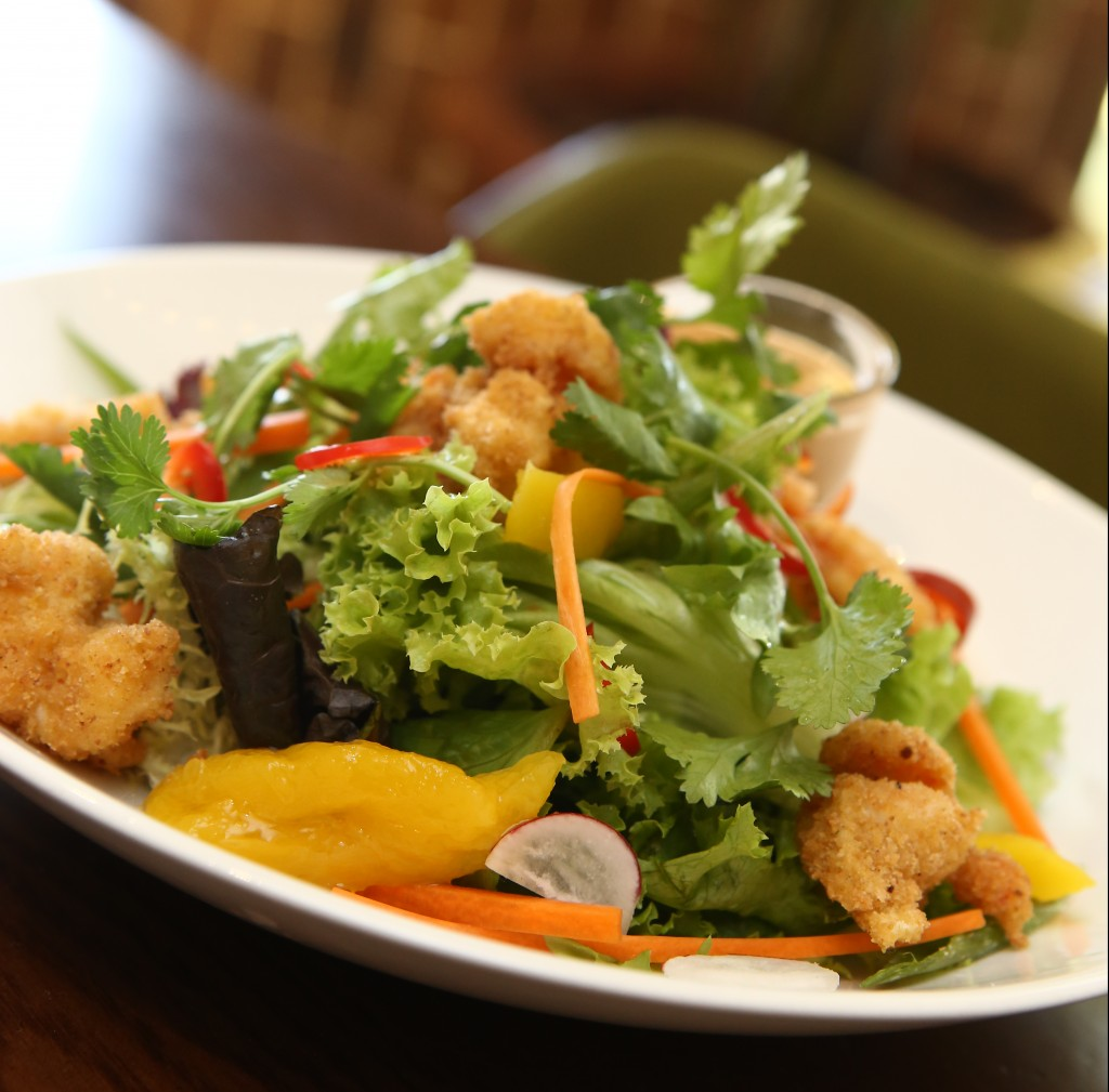 The crusted prawn and mango salad