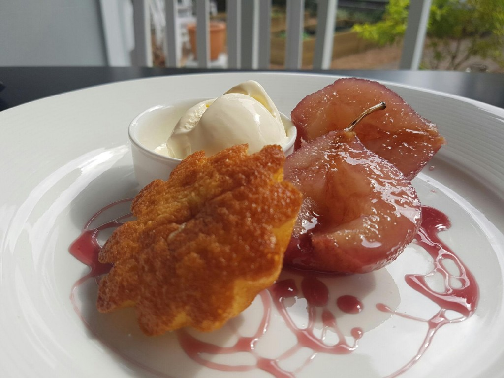 Poached pears with saffron ice-cream and a melt-in-the mouth friand