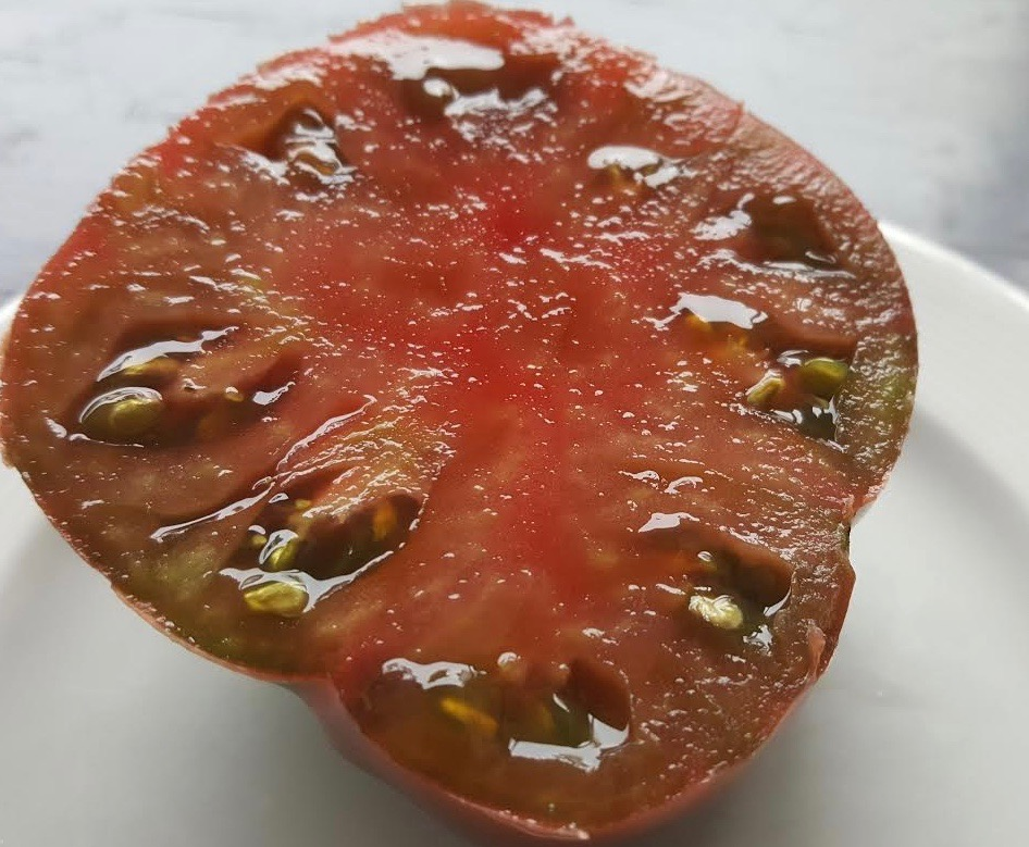 A Black Crim (Crimea) tomato. Steve rtes this the tastiest slicing tomato there is.